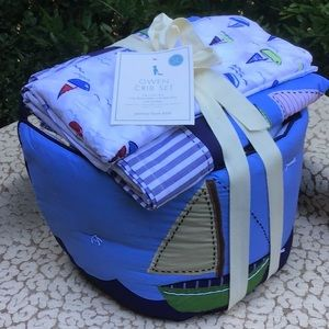 Pottery Barn Kids Nautical Crib Set & Quilt NEW